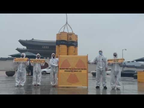Activists protest against  construction of nuclear waste disposal facility in South Korea