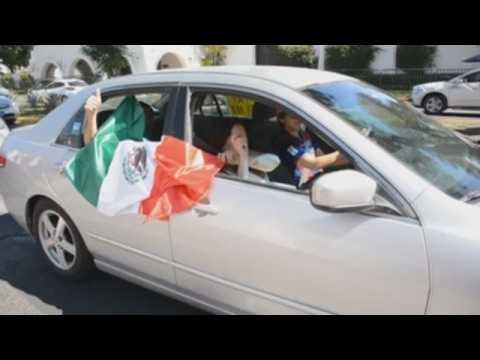 In cars, thousands demand president's resignation in 10 Mexican states