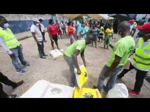Food distribution to people affected by COVID-19 in Liberia