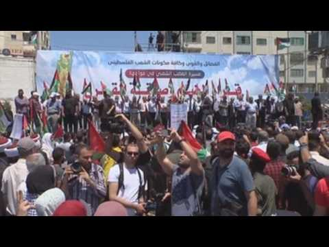 Thousands of Palestinians protest in Gaza against Israeli annexation