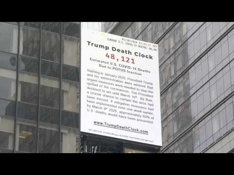 Times Square billboard tallies COVID-19 deaths 'due to POTUS inaction'