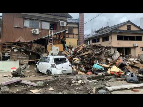 Destruction and debris on streets after deadly floods in Japan