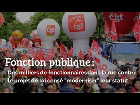 """Fonction publique  : Des milliers de fonctionnaires dans la rue contre le projet de loi censé """"moderniser"""" leur statut"""