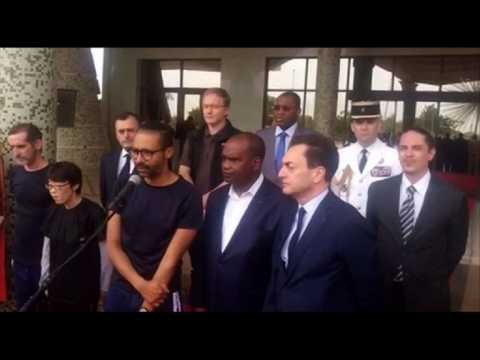 Freed French hostage pays homage to soldiers killed in action