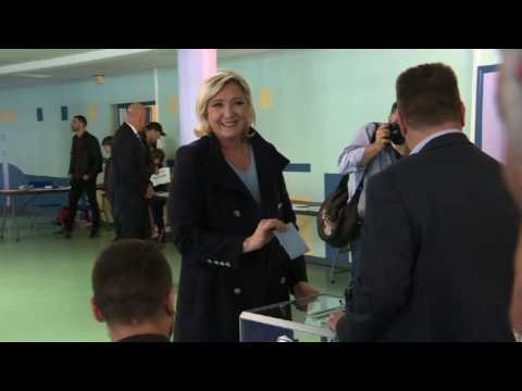 French right-wing leader Le Pen votes in European elections