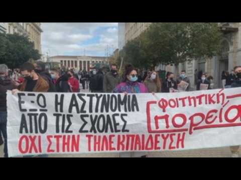 Greek students protest against plans to create a university police