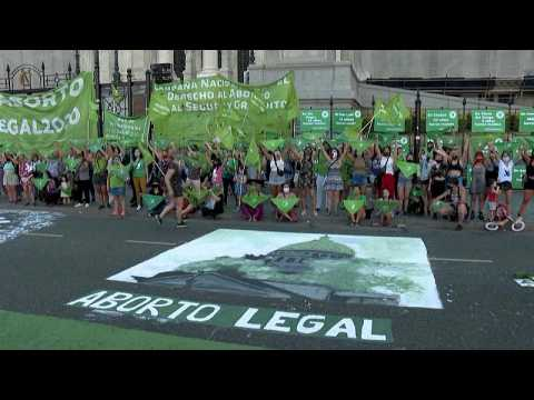 Argentina activists demonstrate in support of abortion legalisation bill