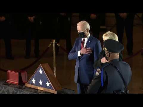 Biden pays respects to police officer killed in Capitol attack