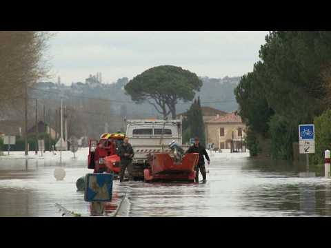 Flooding in France's south-west after region hit by Storm Justine
