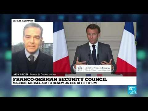 France's Macron, Germany's Merkel meet in security council aiming to renew ties in post-Trump era