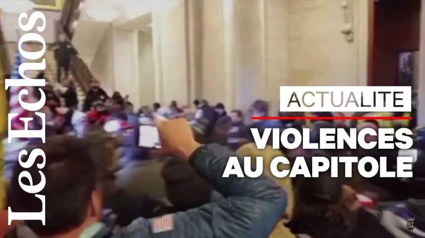 Illustration pour la vidéo Retour au calme au Capitole, l'Amérique sous le choc