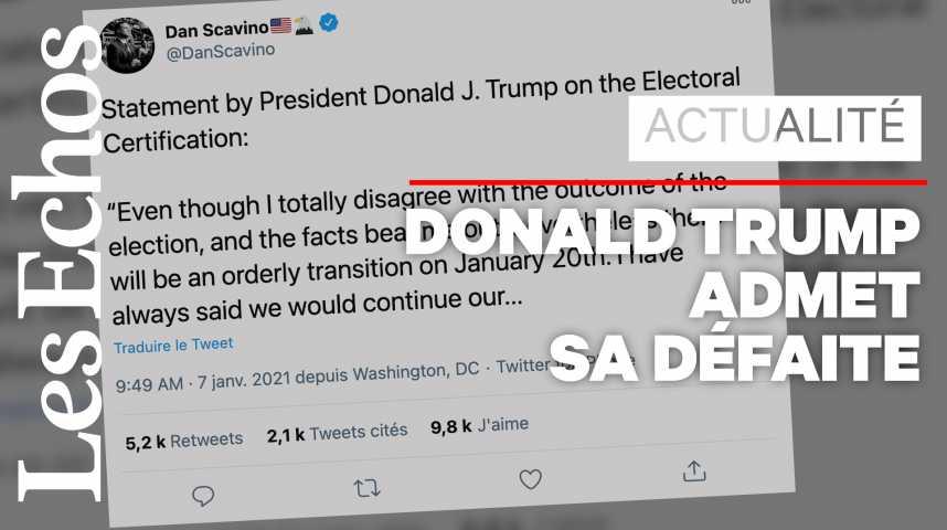 Illustration pour la vidéo Privé de parole sur les réseaux sociaux, Donald Trump annonce une «transition ordonnée» à partir du 20 janvier