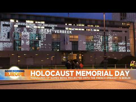 Holocaust memorial day: thousands of names being projected onto the French Embassy in Berlin