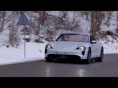 The new Porsche Taycan in Ice Grey Metallic Driving Video