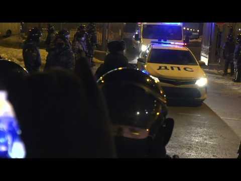 Police van with Kremlin critic Navalny leaves court