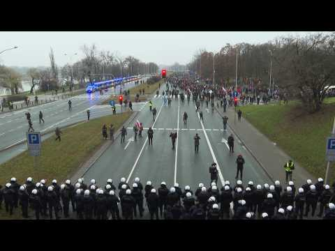 Anti-government protests in Warsaw for anniversary of communist-era crackdown
