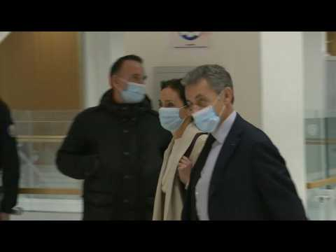 Ex-French President Sarkozy arrives in court as graft trial continues