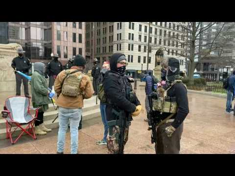 Armed protesters gather outside Ohio Capitol