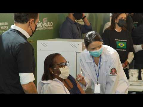 A nurse in Sao Paulo, first vaccinated against Covid-19 in Brazil