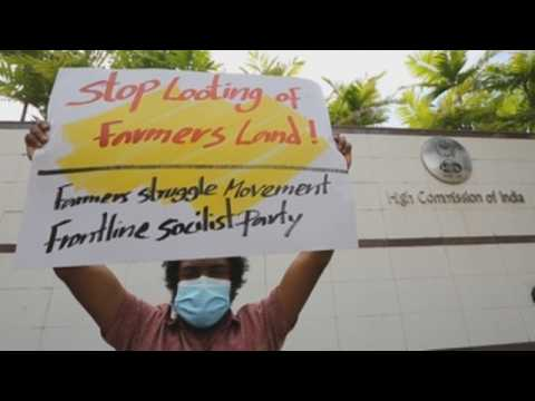 Sri Lanka stages protest against India's new agriculture laws