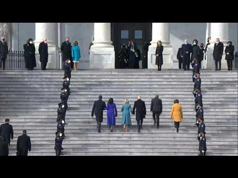 Joe Biden and Kamala Harris arrive at the Capitol for inauguration ceremony