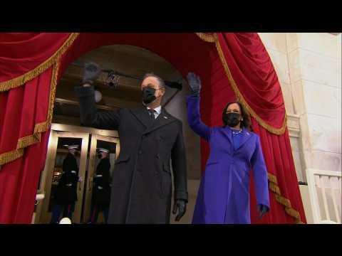 Vice President-elect Kamala Harris steps onto Capitol balcony