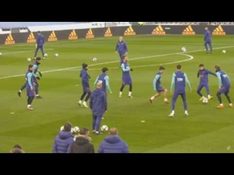 Barcelona players train ahead of Super Cup match against Real Sociedad