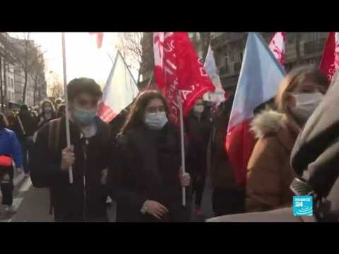French students protest poor conditions due to Covid-19 crisis as country's cases on the rise