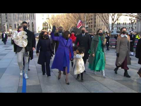 US Vice President Kamala Harris takes part in inauguration parade