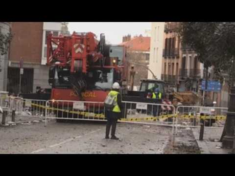 Clean-up works continue in Madrid after blast left four dead