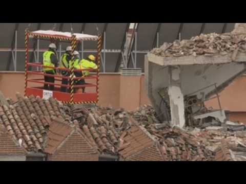 Firefighters continue working on building hit by explosion in Madrid