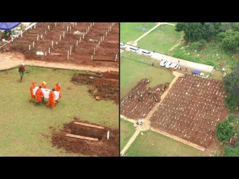 Indonesian capital expands cemeteries amid surge in virus cases: aerial images