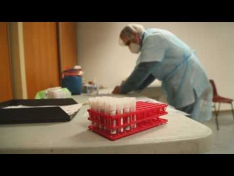Health workers carry out Covid-19 tests in Beziers, France