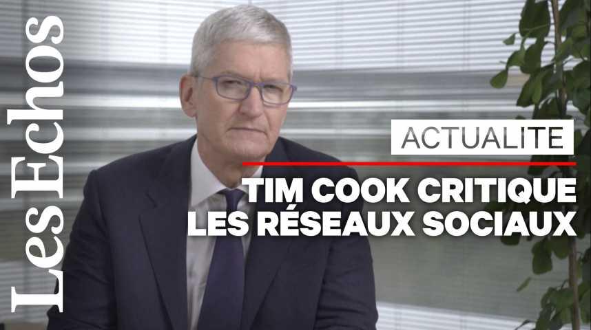 Illustration pour la vidéo Tim Cook (Apple) critique fortement les réseaux sociaux